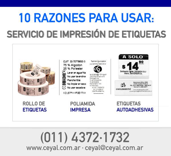 10 razones para usar el: Servicio de Impresión de Etiquetas.